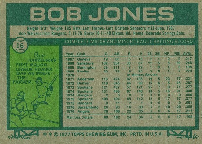 jones 77 topps back